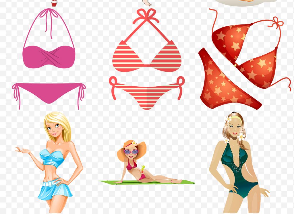 卡通手绘时尚美女内衣比基尼泳装png素材