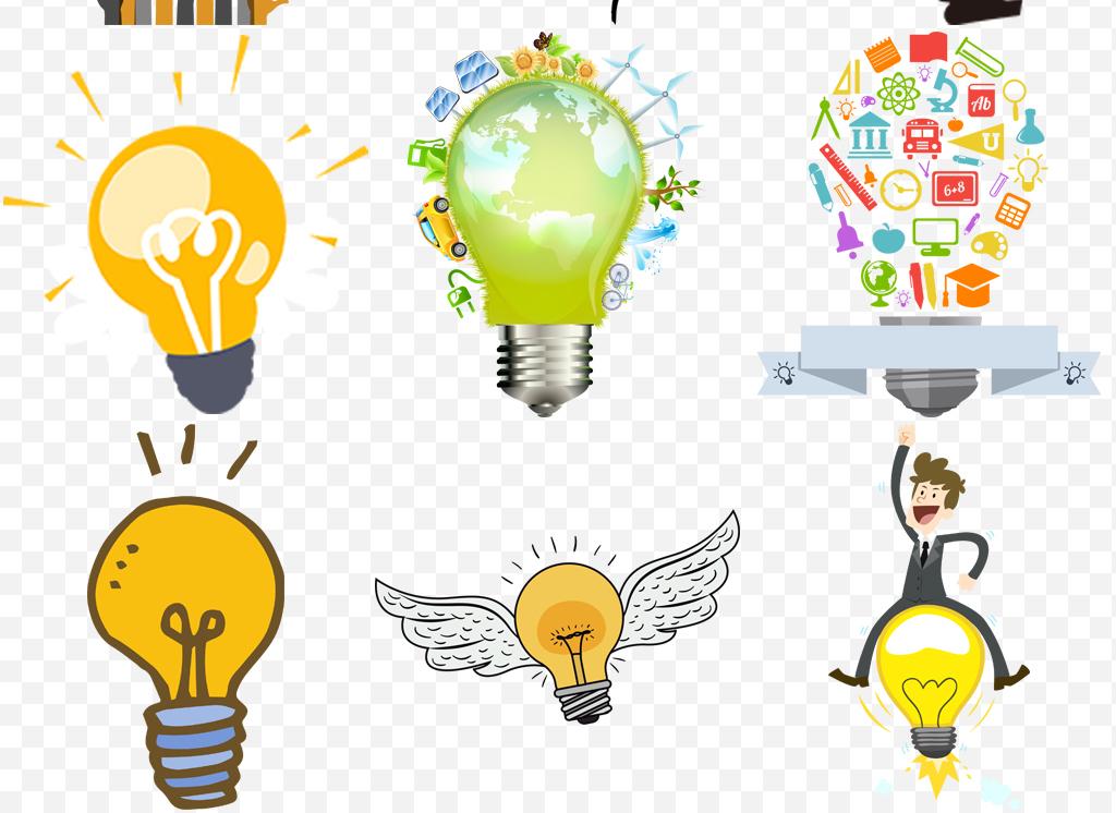 手绘创意大脑创意灯泡免扣png素材