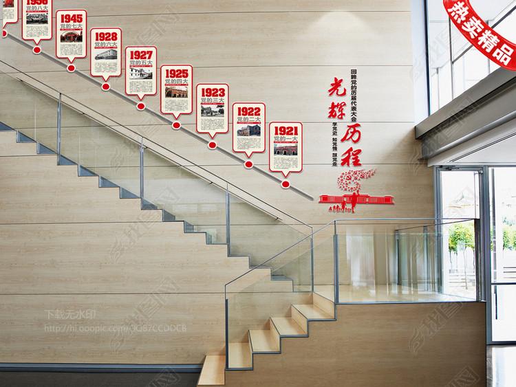 党的十九大代表大会光辉历程楼梯文化墙