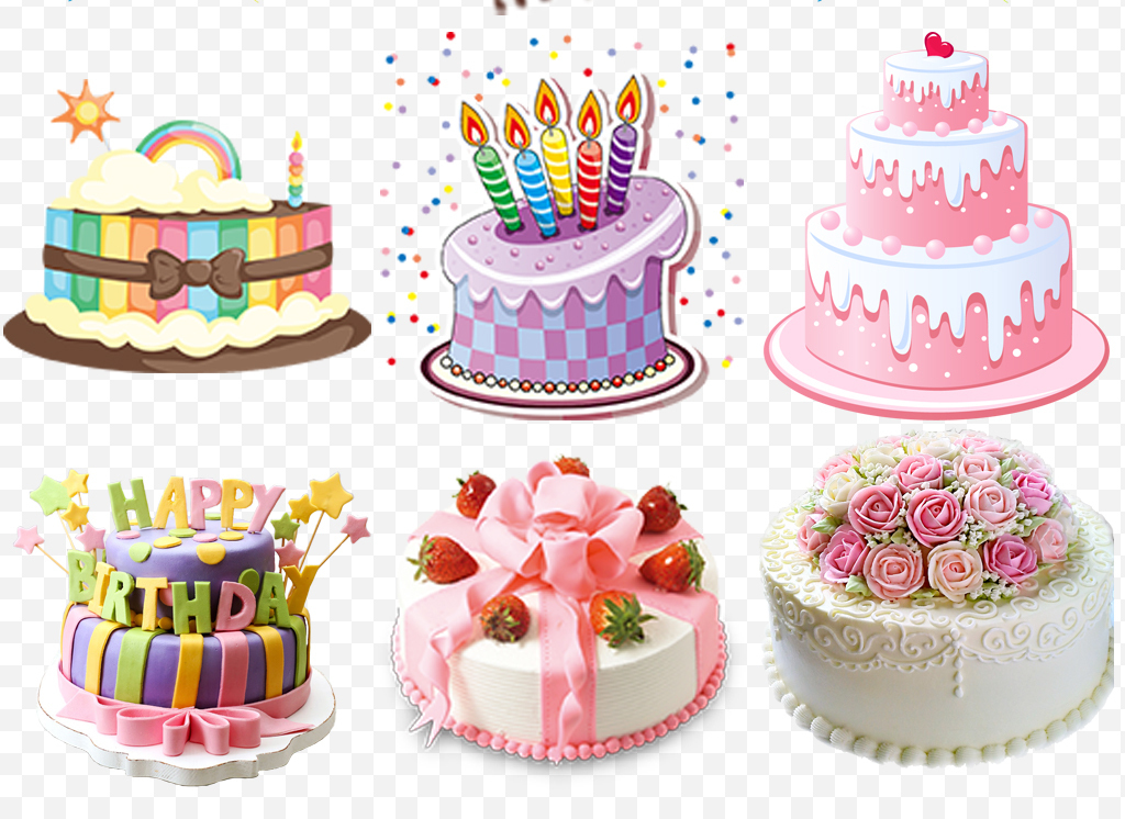 手绘生日快乐庆祝生日蛋糕png素材下载,作品模板源文件可以编辑替换