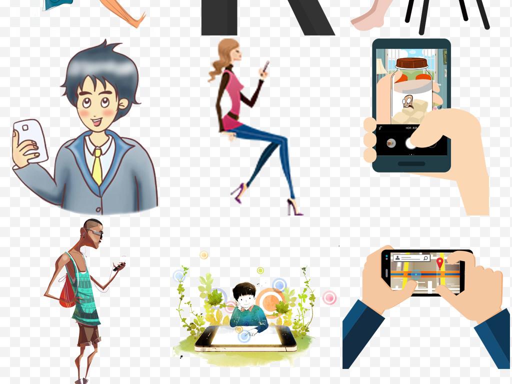 多款卡通人物玩手机电子产品png免扣素材