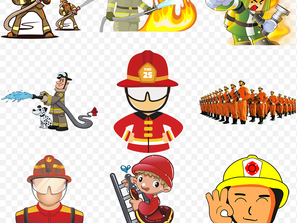 卡通消防标志消防标识消防安全消防卡通卡通消防员警钟消防员灭火图片