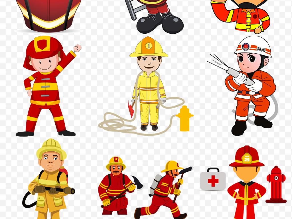 卡通消防员消防安全灭火警钟救火图片素材