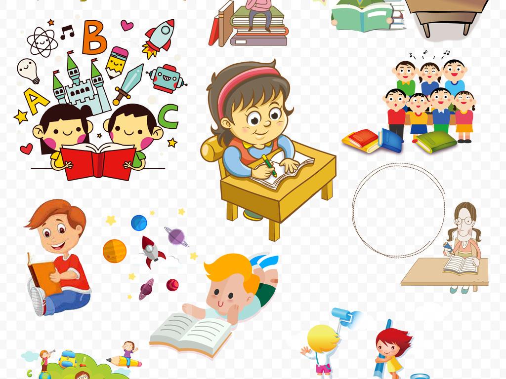 海报朗读幼儿园书本儿童卡通人物上课知识学校学习看书开学素材读书