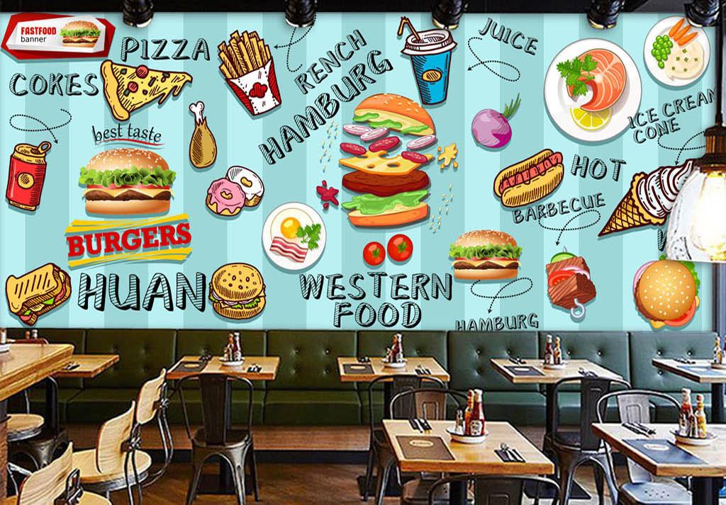 欧美手绘汉堡快餐店小吃店背景墙