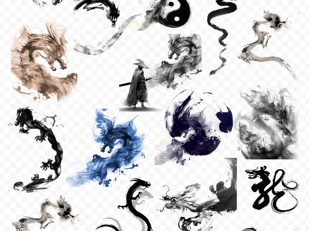 烟雾中国风中国龙龙墨迹龙须龙纹龙纹图片龙纹壁龙纹身图案水墨