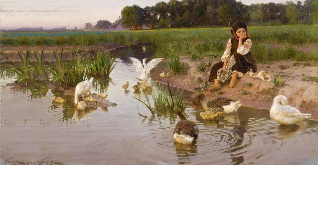 东欧小女孩河边鸭子手绘