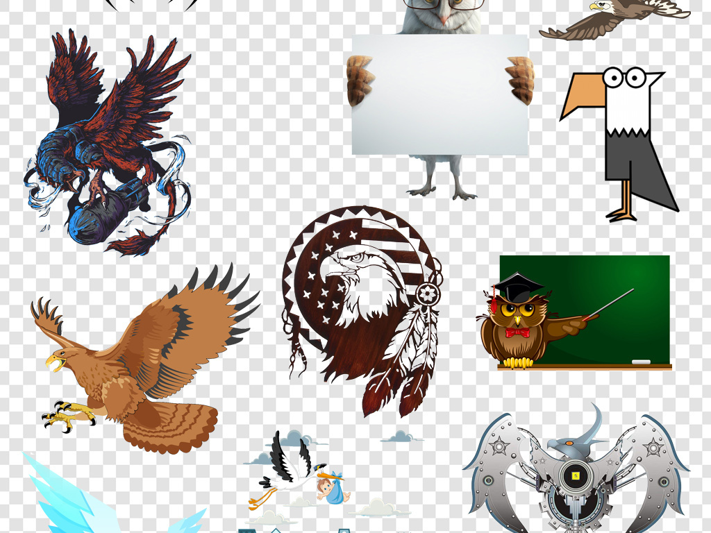 设计元素 自然素材 动物 > 卡通手绘老鹰飞鸟png免扣素材  版权图片