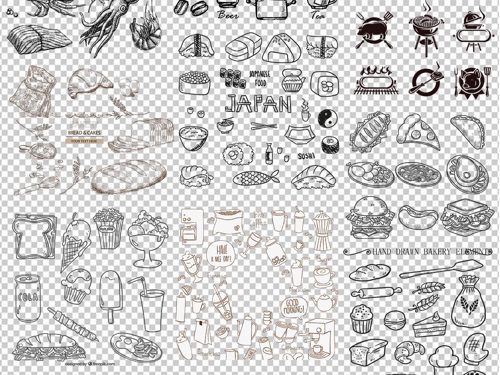 pop字手绘海报手绘效果图面包图片食物牛奶早餐面包手绘点心png图片