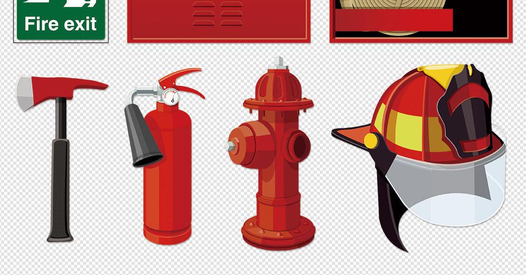 火警器材灭火器铁锹钩子消防栓安全教育图标 80