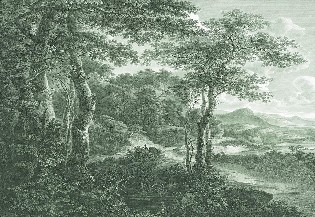 手绘树林背景墙(不分层)