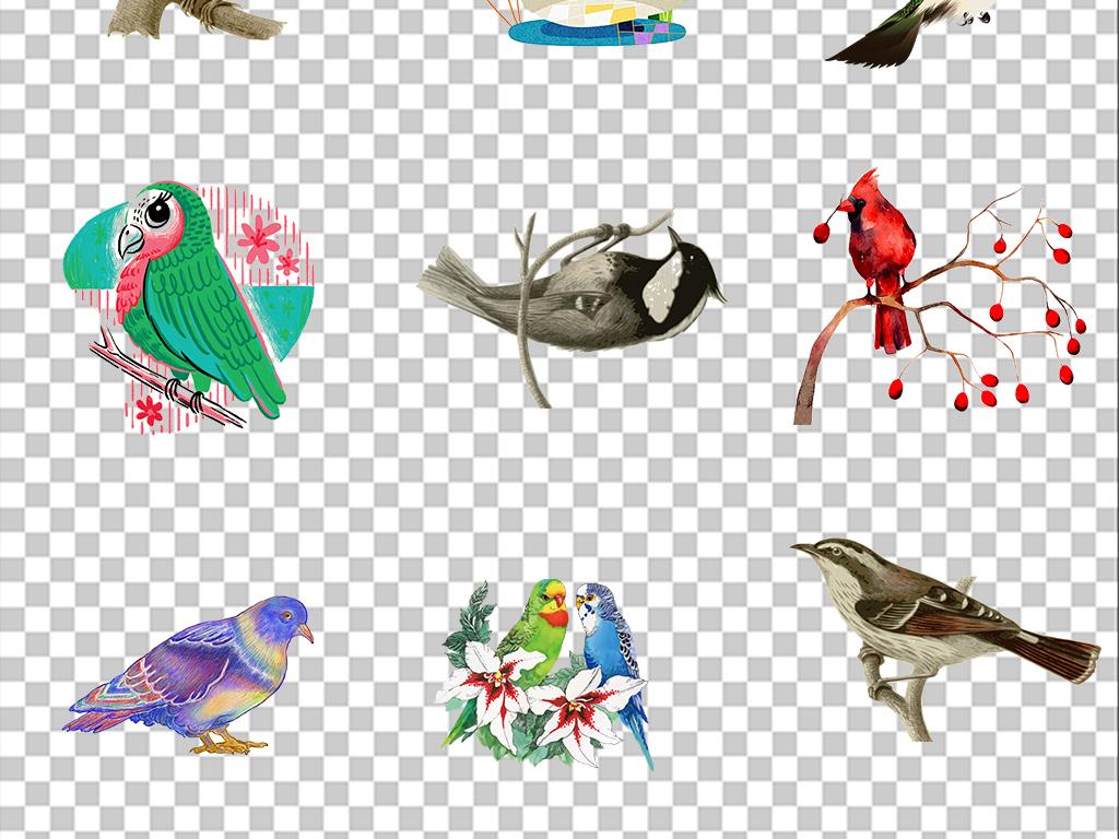 彩色鸟飞翔小鸟可爱的小鸟扣图水彩手绘麻雀水彩素材水彩鸟水彩素材多