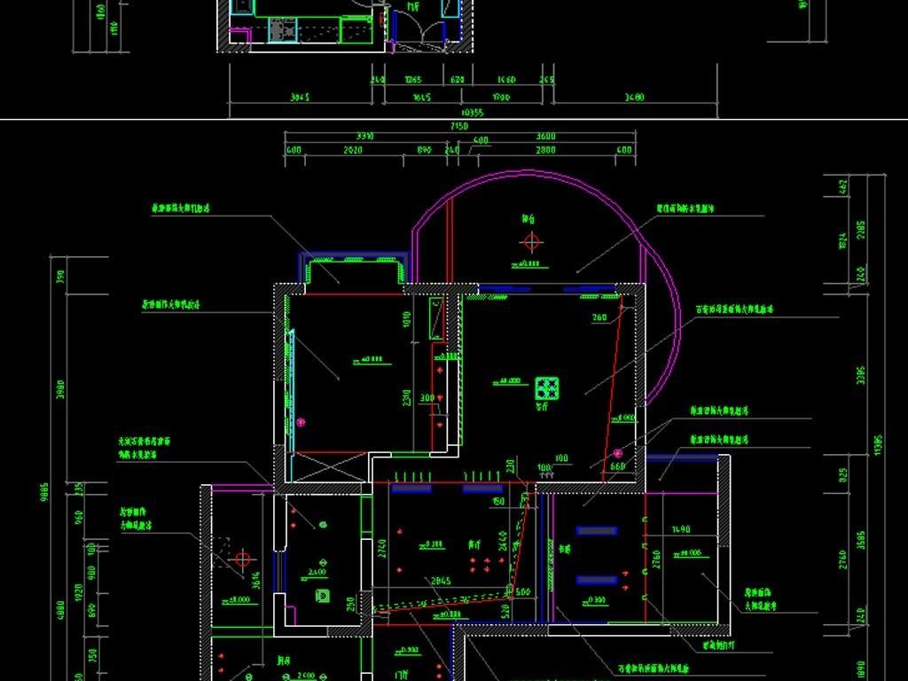两居室cad全套施工图平面设计图下载(图片4.29mb)_cad