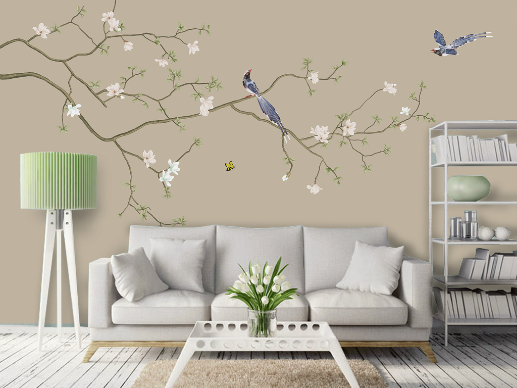 中式玉兰花开富贵手绘工笔花鸟背景墙屏风