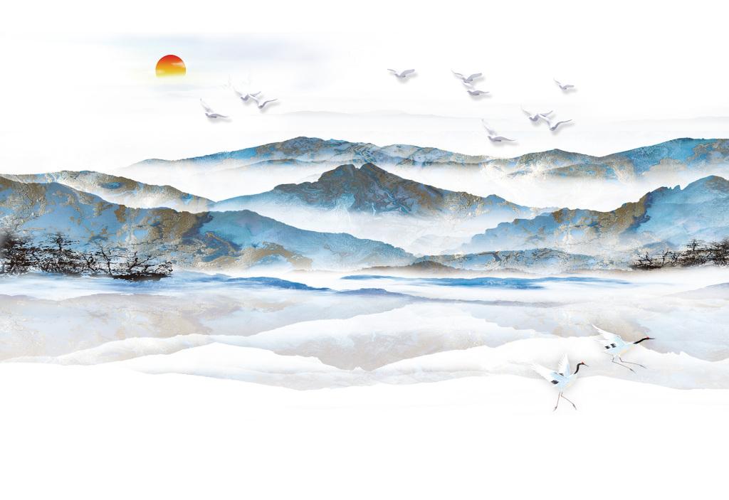 画墙纸高清工装茶楼高雅手绘山水水墨山水中式水墨背景中式意境中国意图片