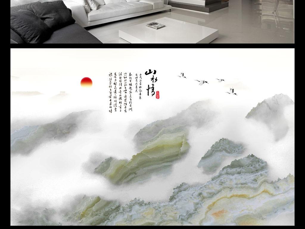 简约新中式大理石纹山水背景墙壁纸图片