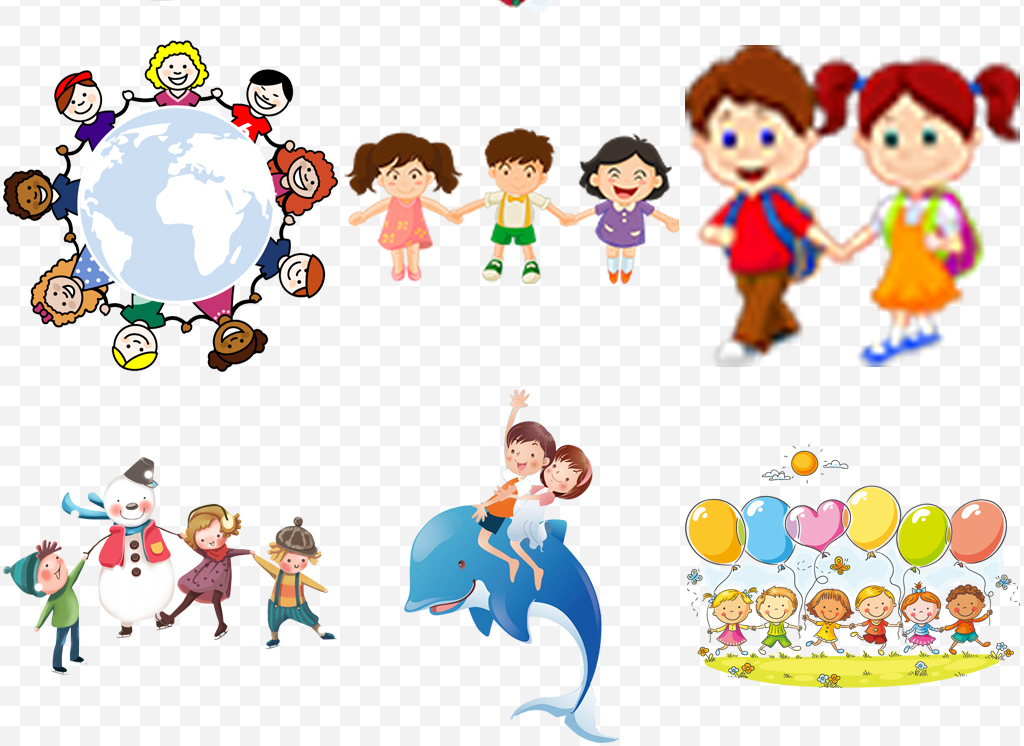卡通伙伴儿童手拉手小孩学生幼儿开学季素材