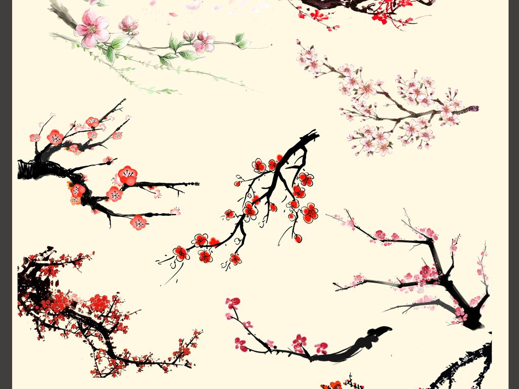 中国风国画工笔素材合集png元素图片