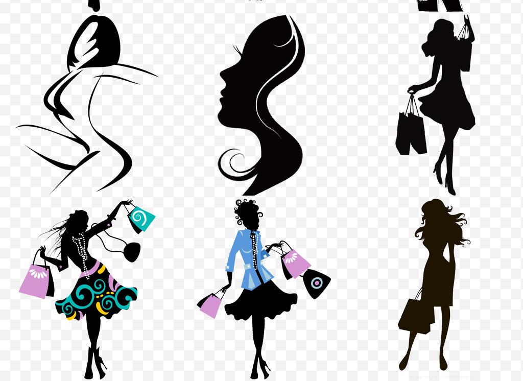 免抠元素 人物形象 美女 > 卡通手绘女人剪影png透明海报设计元素  素