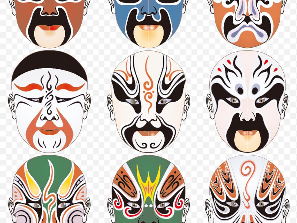 京剧脸谱面具变脸戏剧人物png设计元素