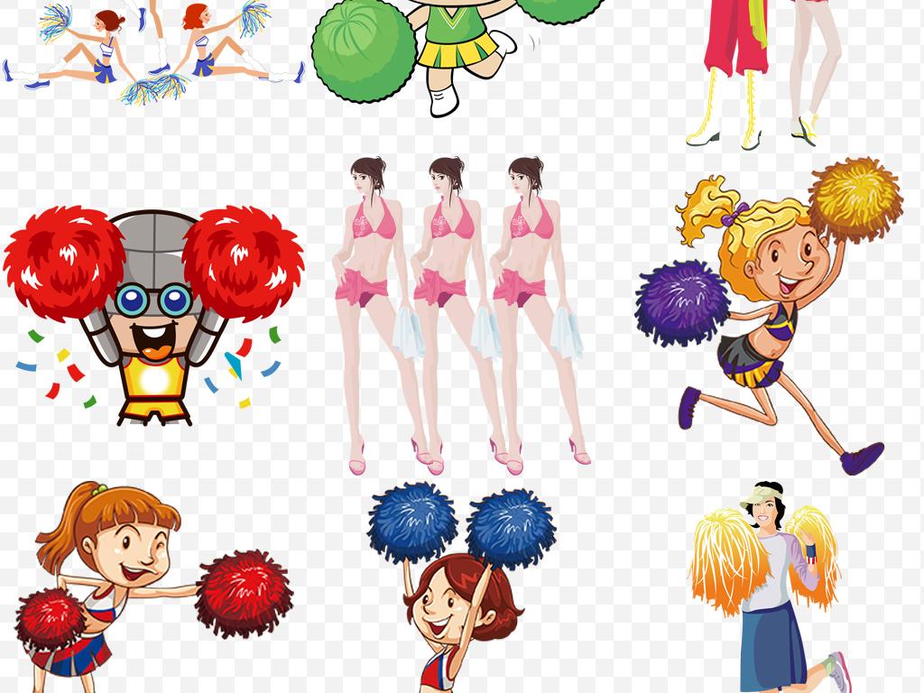 卡通小女孩啦啦队跳舞免抠png设计元素