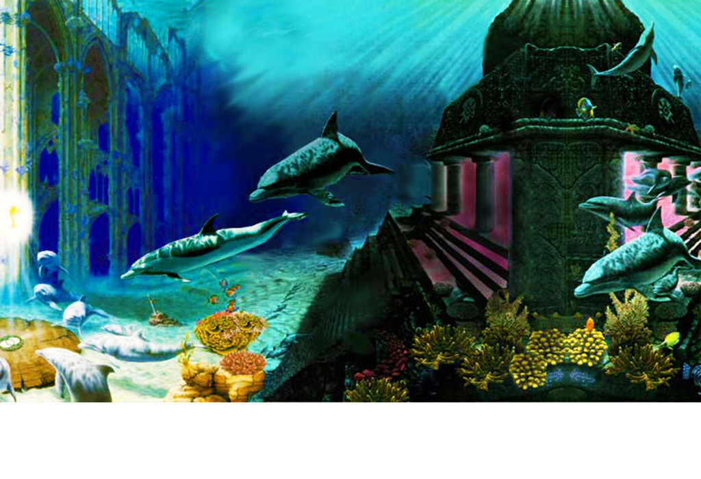手绘水下宫殿海豚复古(图片编号:16929758)_电视背景