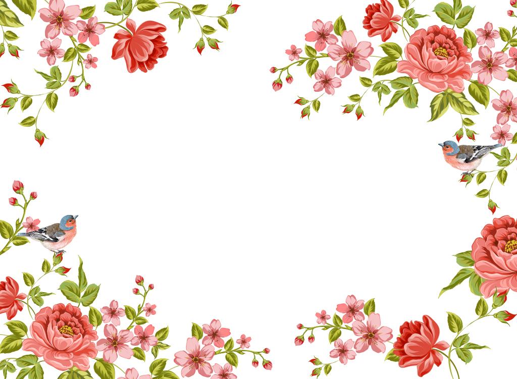 北欧手绘花朵墙纸