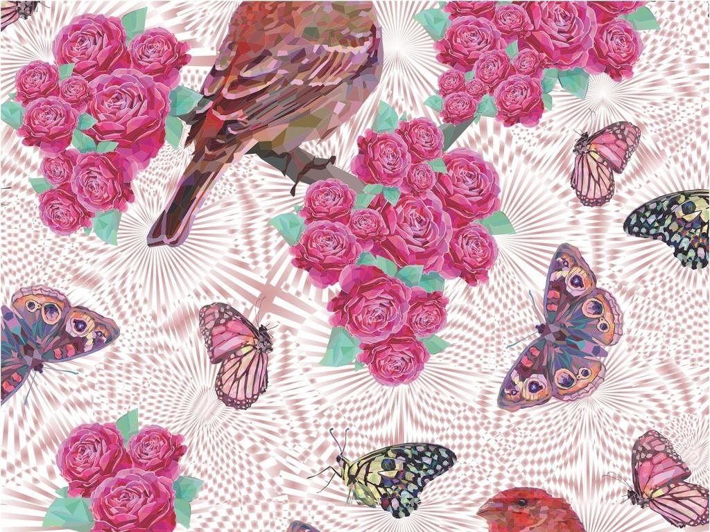 热带蝴蝶鸟类植物花卉花型(图片编号:16930588)_动物