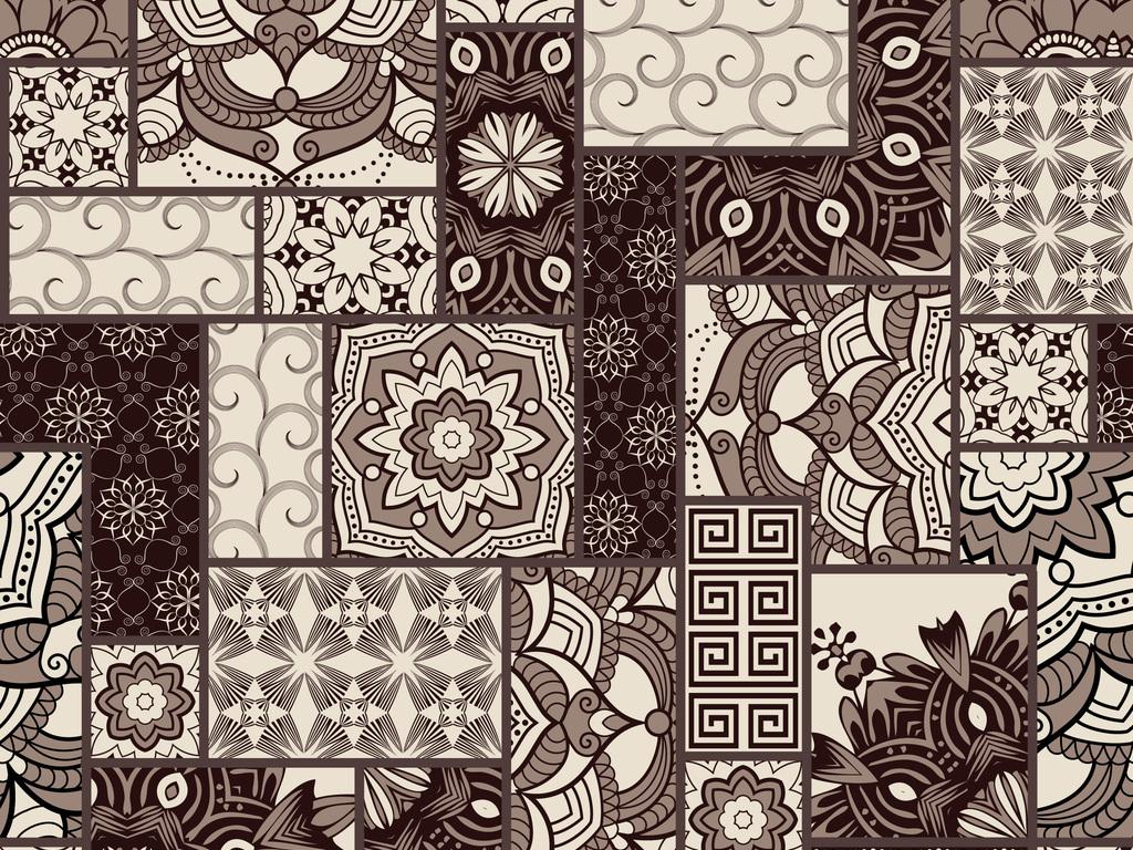 新款手绘几何图形格子无缝组合图