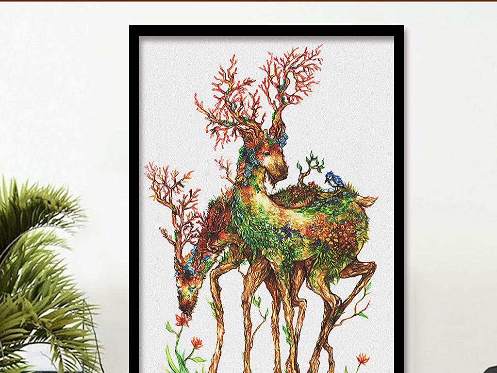 麋鹿森林北欧无框画手绘鹿装饰画麋鹿