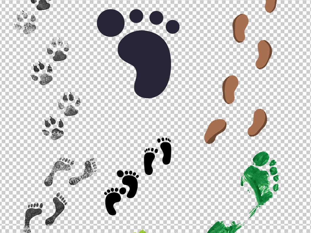 卡通手绘人物脚印图片海报素材