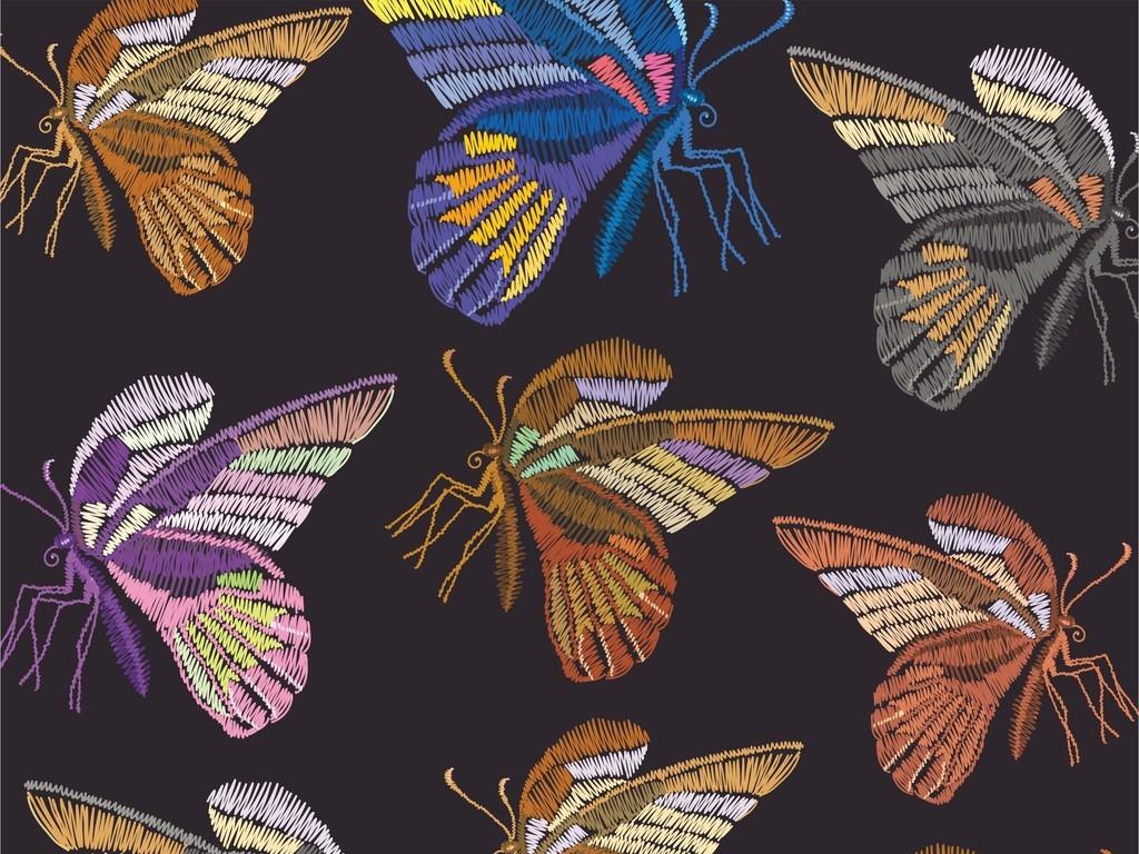 手绘蝴蝶图案昆虫刺绣装饰画t恤图案