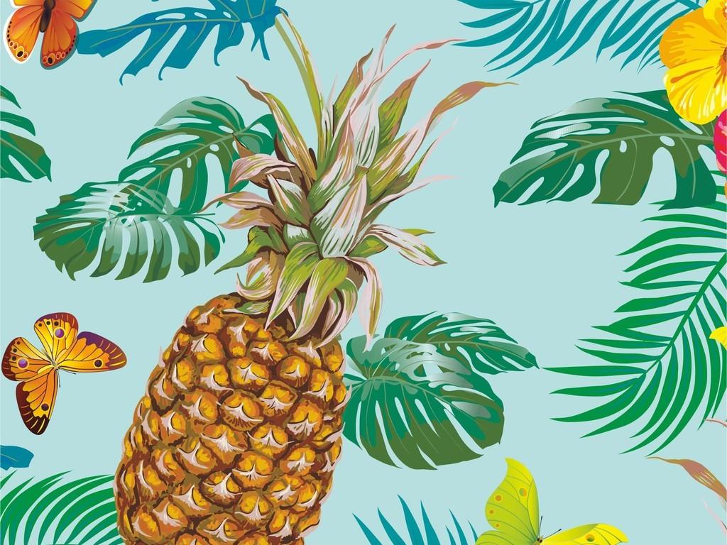 手绘花卉植物绿叶蝴蝶印花水果菠萝面料图案