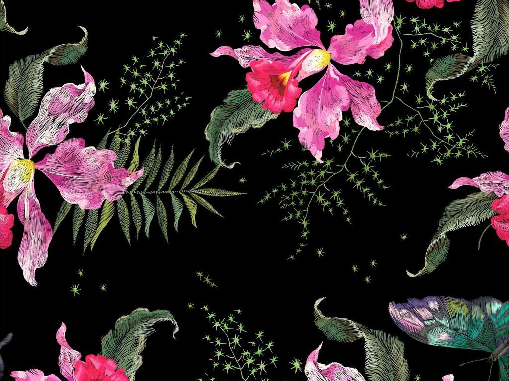 植物花卉图案蝴蝶动物图案家纺布料印花