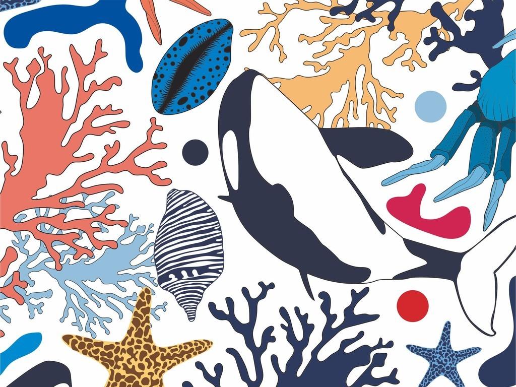 海洋动物海豚海藻鱼类图案卡通面料印花