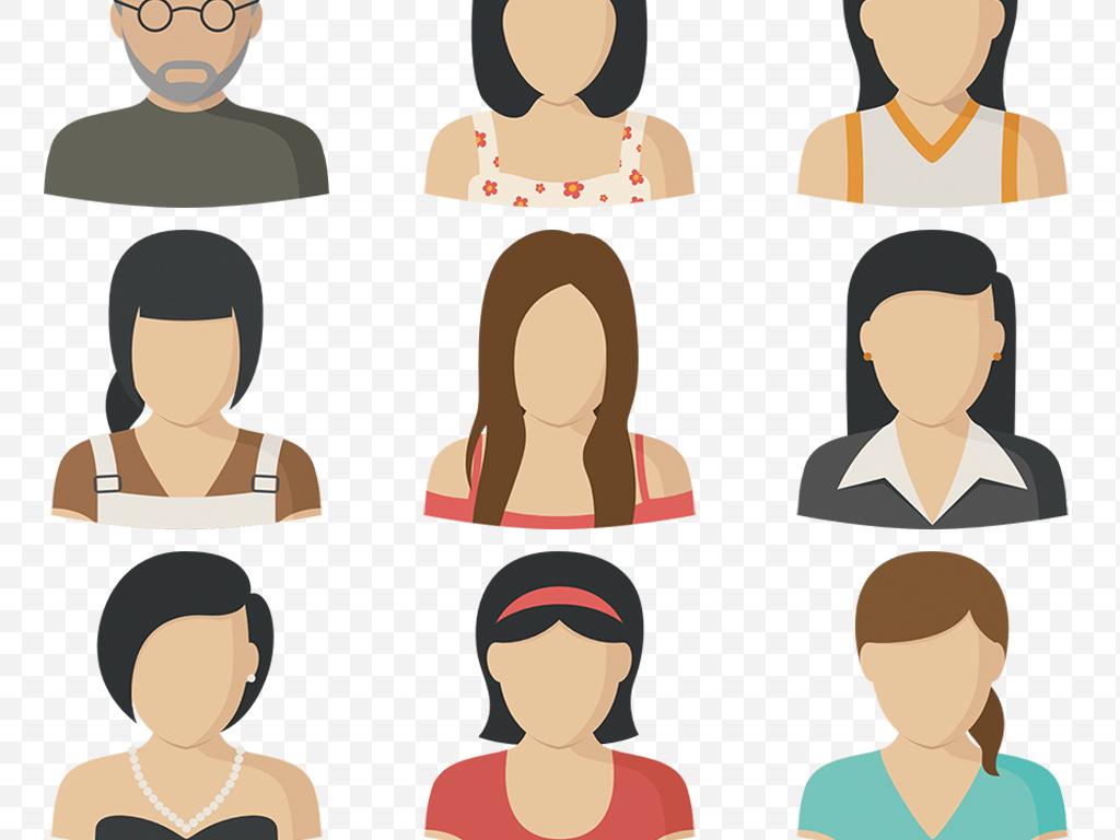 扁平化卡通人物头像造型上半身png矢量图
