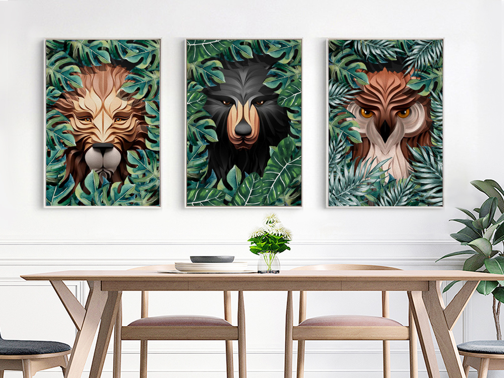 北欧风格3d立体纸雕动物无框画热带装饰画