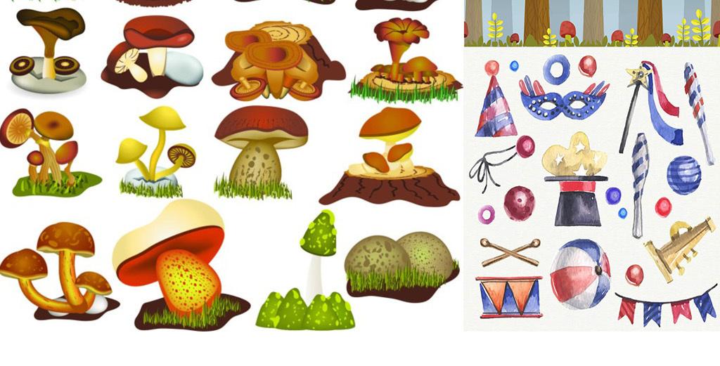 爱丽丝梦游仙境高清素材爱丽丝兔子蘑菇仙境扑克牌素材