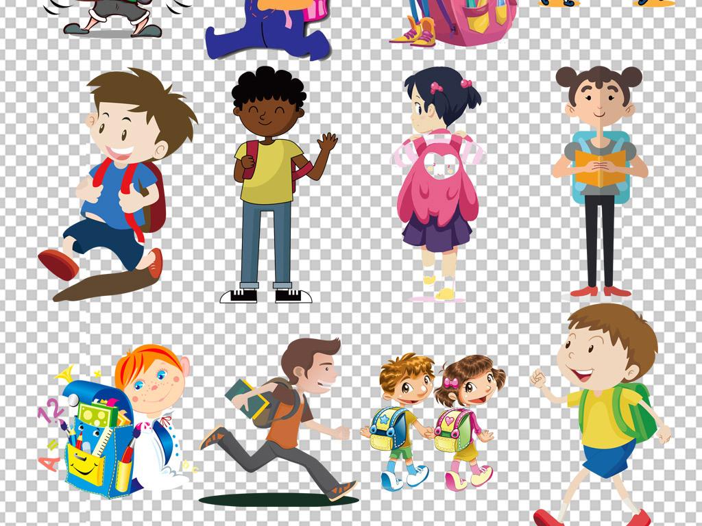 开学季背书包的小孩上学png素材图片图片