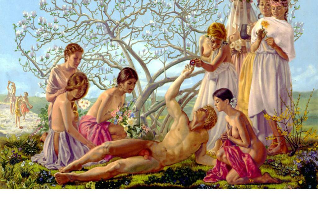 希腊美少女桃树手绘背景墙