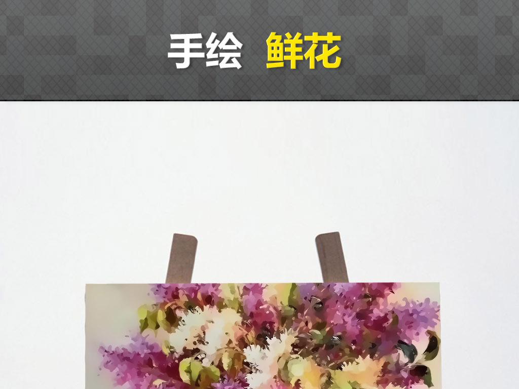花油画花卉蝴蝶向日葵装饰画手绘水彩画图片下载素材