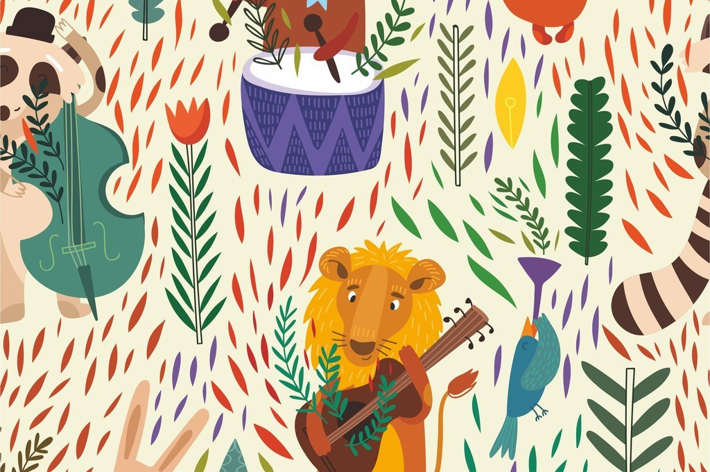 兔子动物世界抽象几何儿童房装饰画墙纸壁纸