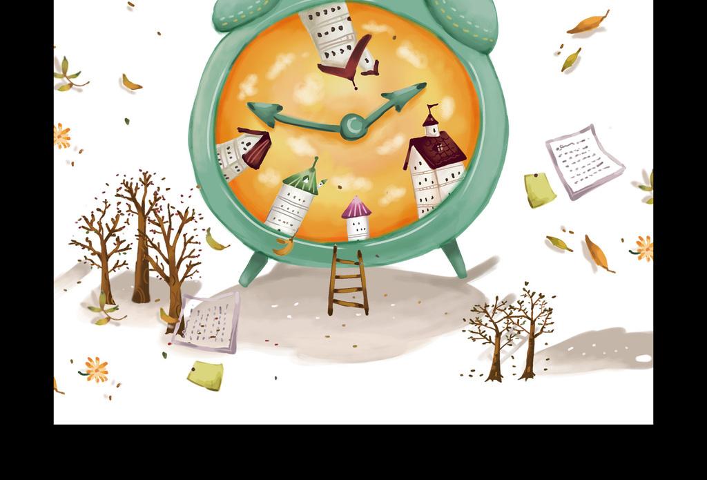 创意手绘珍惜时间学校挂画海报图片设计素材_高清psd