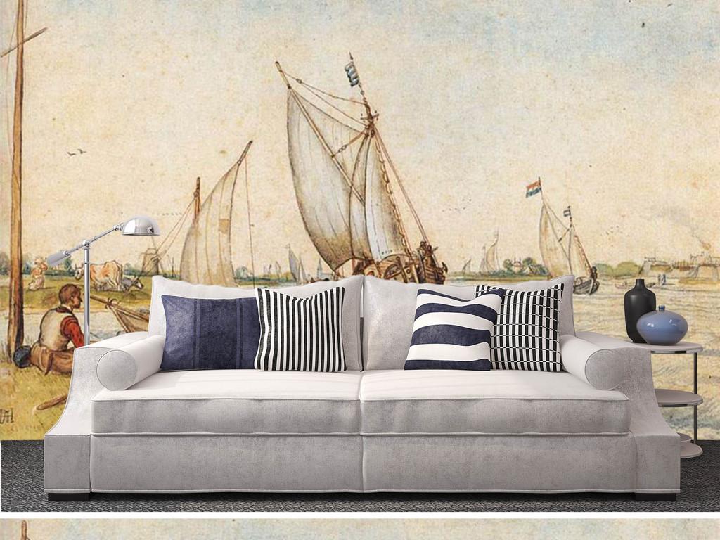 地中海手绘复古帆船背景墙