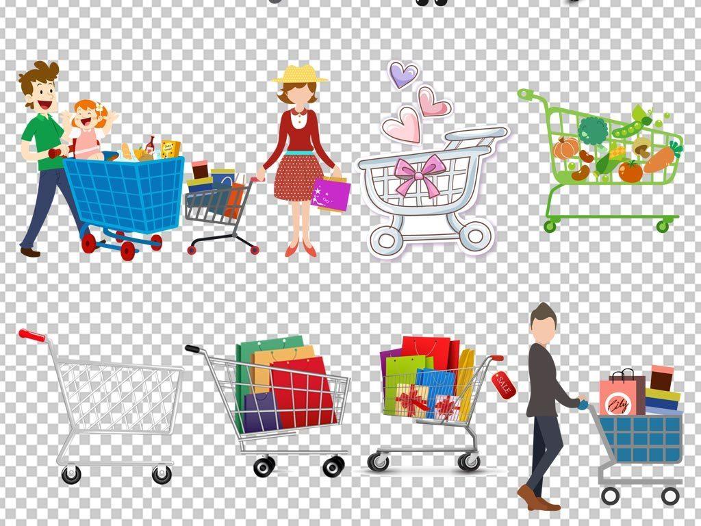 psd)商场超市购物车手绘卡通购物车超市购物车矢量图