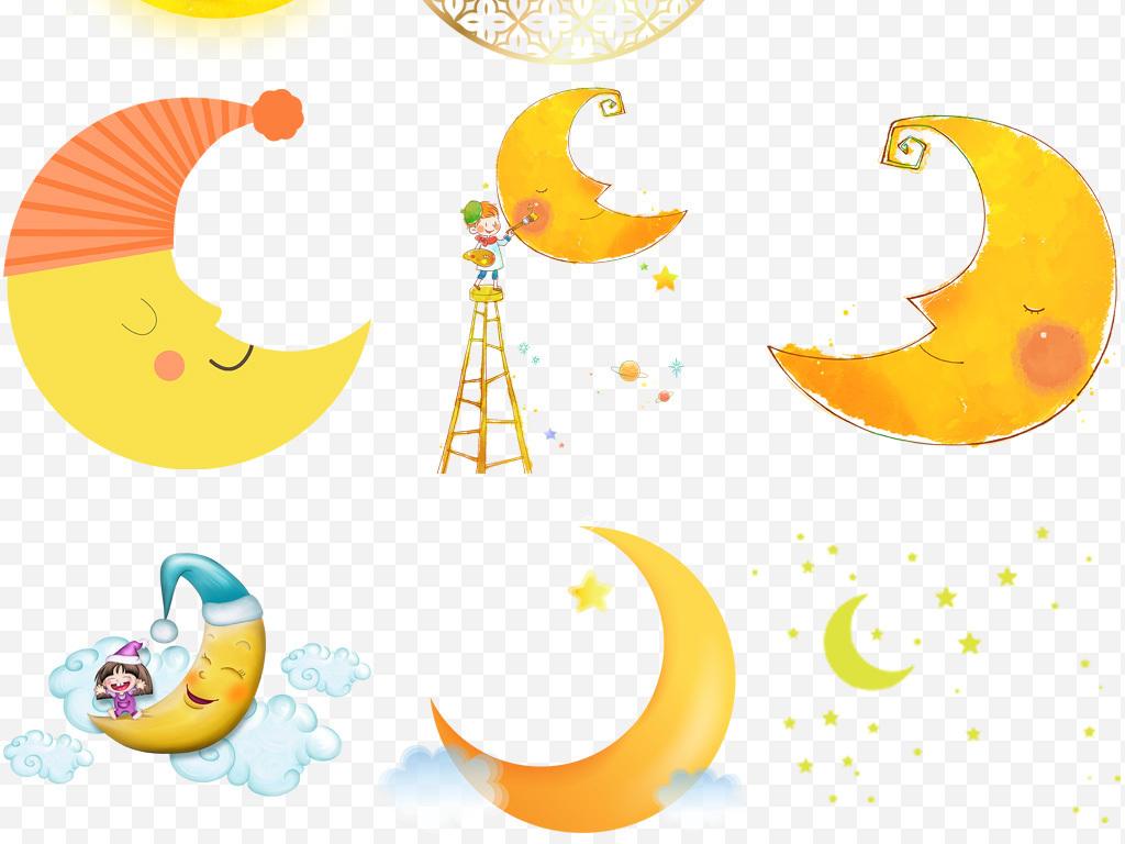 设计元素 其他 其他 > 卡通手绘可爱月亮晚安睡眠设计png素材