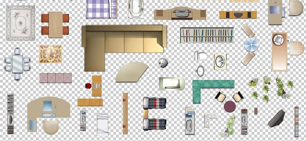 00119手绘室内户型图房屋装修素材房屋平面图家具免抠