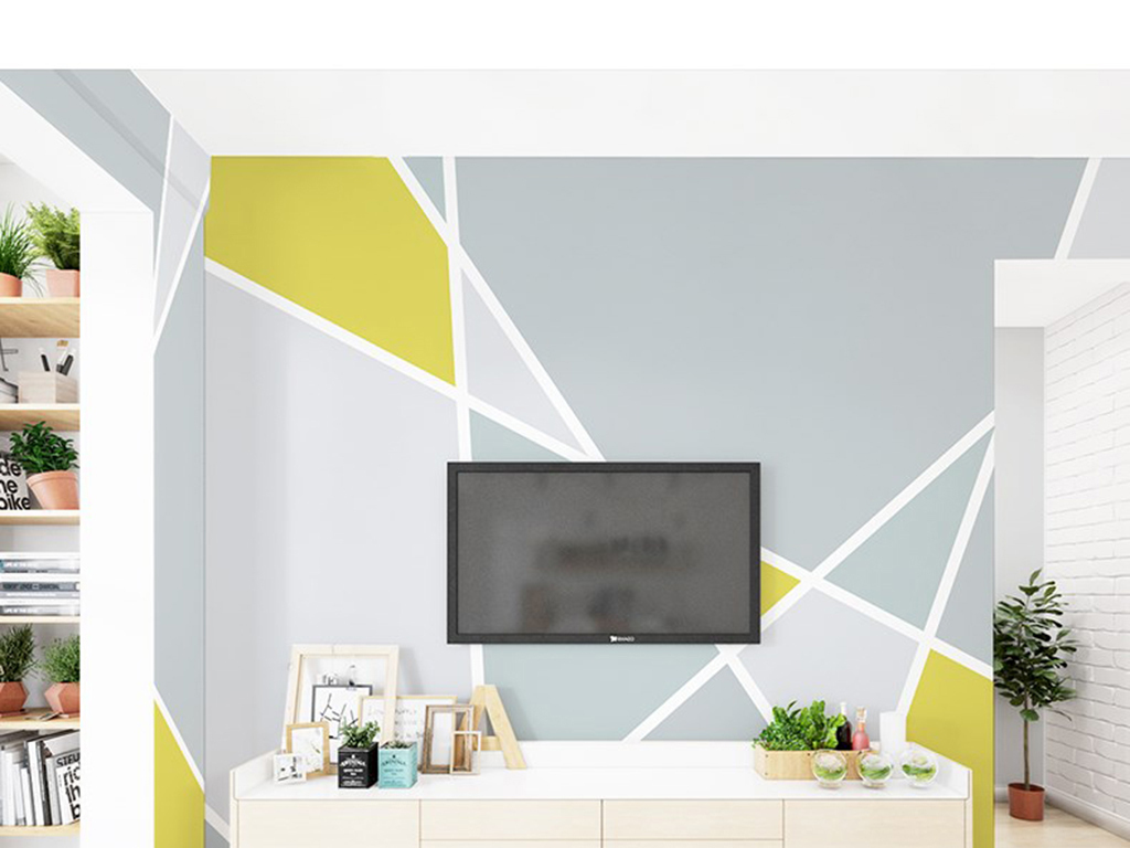 背景墙 电视背景墙 手绘电视背景墙 > 现代时尚北欧几何三角形背景墙