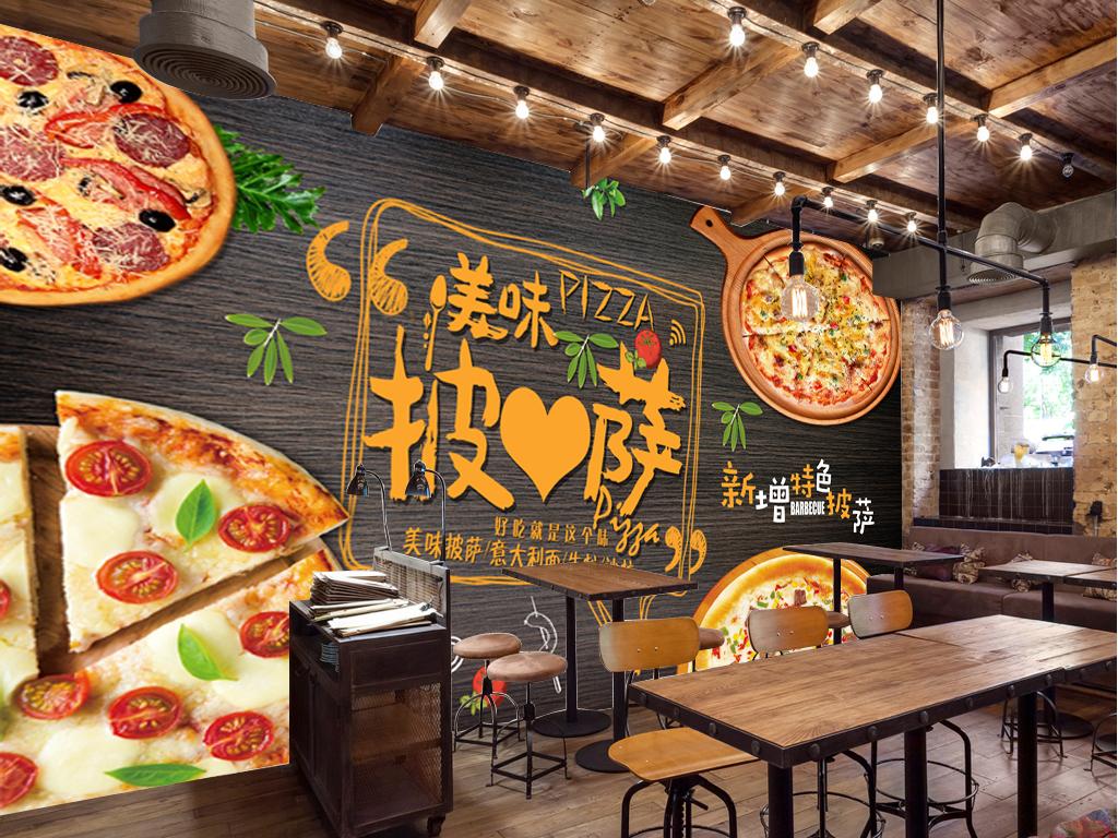 手绘西餐厅木板披萨背景墙