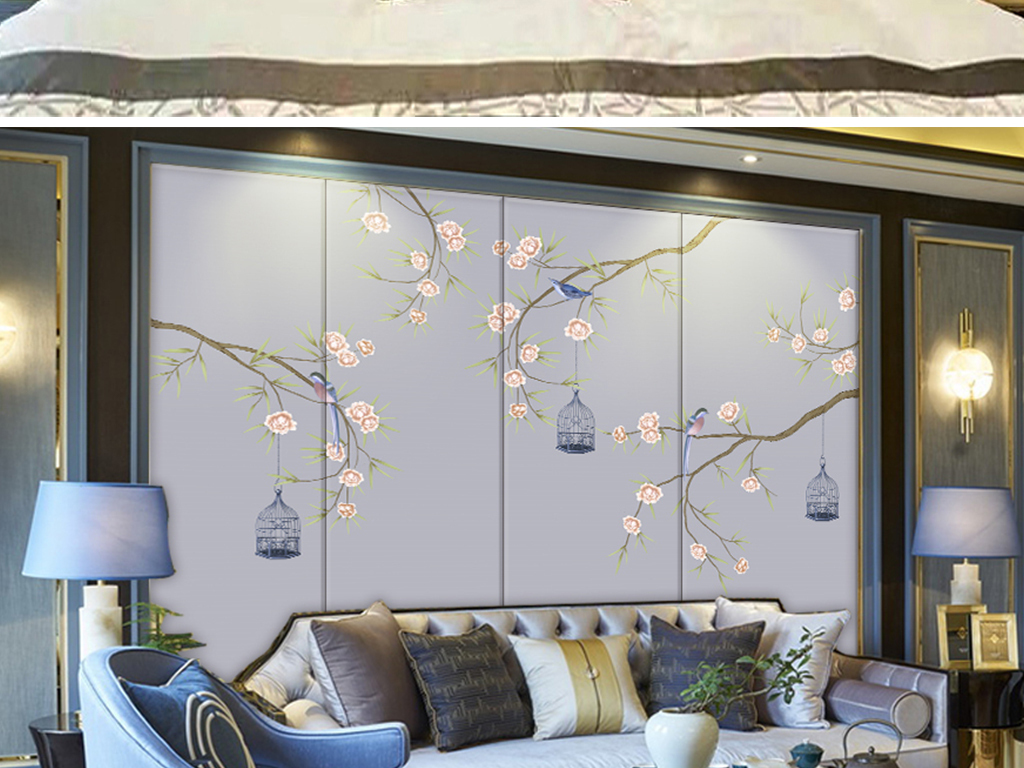 新中式手绘工笔花鸟壁画软包背景墙屏风图片设计素材